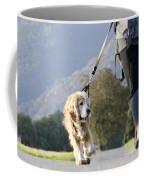 Woman Walking With Her Dog Coffee Mug