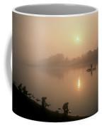 Women Wash Clothes At Dawn While Coffee Mug