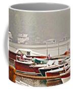 Wood Boats In The Rain Coffee Mug