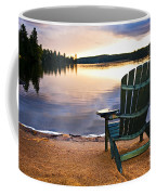 Wooden Chair At Sunset On Beach Coffee Mug