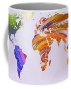 World Map Abstract Painted Coffee Mug
