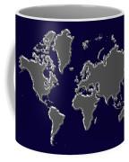 World Map Silver Coffee Mug