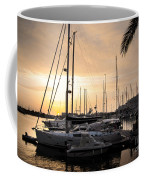 Yachts At Sunset Coffee Mug by Carlos Caetano