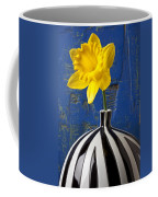 Yellow Daffodil In Striped Vase Coffee Mug