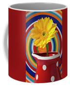Yellow Daisy In Red Pitcher Coffee Mug