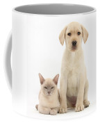 Yellow Lab And Burmese Cat Coffee Mug