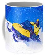 Yellow Snowmobile In Blizzard Coffee Mug