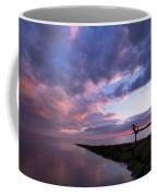 Yoga Dancer Asana On Beach Jetty Coffee Mug