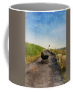 Young Woman And Baby Buggy On Dirt Road  Coffee Mug