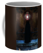 Young Woman In Black Lantern In Front Of Her Face Coffee Mug