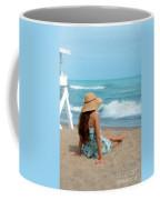 Young Woman Sitting On A Beach Coffee Mug