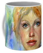 Young Woman Watercolor Portrait Painting Coffee Mug