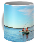 Canoe Fishing  On Blue Lake Coffee Mug