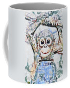 Monkey Rainbow Splattered Fragmented Blue Coffee Mug