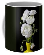 White Ranunculus In Yellow Vase Coffee Mug