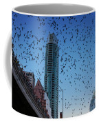 1.5 Million Mexican Free-tail Bats Overtake The Austin Skyline As They Exit The Congress Avenue Bridge Coffee Mug