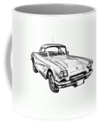 1962 Chevrolet Corvette Illustration Coffee Mug