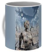 A Broken Down Petrified Android Robot Coffee Mug