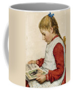 A Girl Looking At A Book Coffee Mug