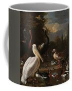 A Pelican And Other Birds Near A Pool, Known As The Floating Feather, Melchior D Hondecoeter, Coffee Mug
