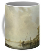 A River Scene With Distant Windmills Coffee Mug