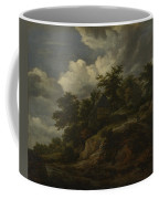 A Rocky Hill With Three Cottages A Stream At Its Foot Coffee Mug