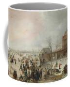 A Scene On The Ice Near A Town Coffee Mug