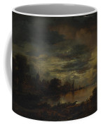 A Village By A River In Moonlight Coffee Mug