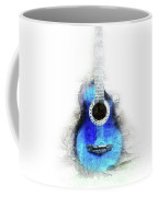 Abstract Guitar In The Foreground Close Up On Watercolor Painting Background. Coffee Mug