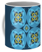 Abstract Mandala Cyan, Dark Blue And Yellow Pattern For Home Decoration Coffee Mug