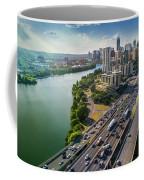 Aerial View Of The Austin Skyline As Rush Hour Traffic Picks Up On I-35 Coffee Mug