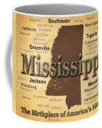 Aged Mississippi State Pride Map Silhouette  Coffee Mug