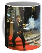 Al Pacino As Tony Montana With Machine Gun Blasting His Fellow Bad Guys Scarface 1983 Coffee Mug