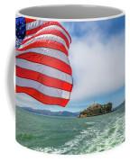 Alcatraz Island With American Flag Coffee Mug