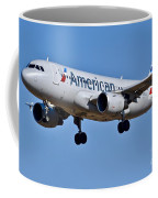 American Airlines Plane Preparing To Land At The Bwi Airport Coffee Mug