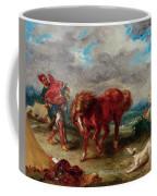 An Arab Saddling His Horse Coffee Mug