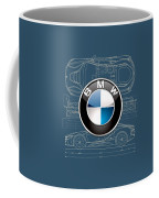 B M W 3 D Badge Over B M W I8 Blueprint  Coffee Mug