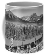 Banff Bow River Black And White Coffee Mug