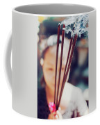 Beautiful Asian Woman Holding Incense Sticks During Hindu Ceremony In Bali, Indonesia Coffee Mug