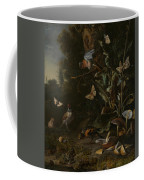 Birds Butterflies And A Frog Among Plants And Fungi Coffee Mug
