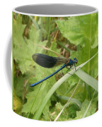 Blue Dragonfly On Leaf Coffee Mug