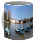 Blue Rowing Boats On The Thames At Hampton Court London Coffee Mug