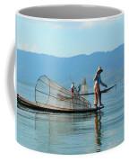 Boatmen On Inle Lake  Coffee Mug