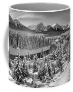 Bow Valley River View Black And White Coffee Mug