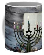 Brightly Glowing Hanukkah Menorah - Shallow Depth Of Field Coffee Mug