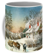 Bringing Home The Logs Coffee Mug by Currier and Ives