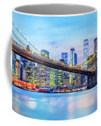 Brooklyn Bridge And The Lower Manhattan Skyline Coffee Mug by Mihai Andritoiu