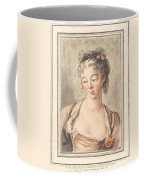 Bust Of A Young Woman Looking Down Coffee Mug