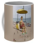 Caveman Above Beach Santa Cruz Boardwalk Coffee Mug