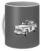 Checkered Taxi Cab Illustrastion Coffee Mug